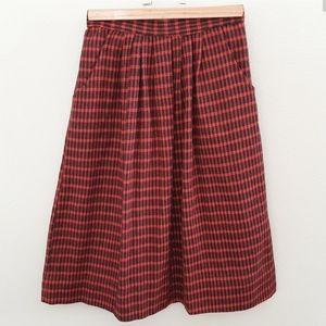 Vintage You Babes A line Plaid Midi Skirt